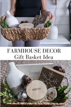 Farmhouse Style Christmas Gift Basket Idea Gift Guide