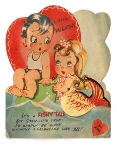 Vintage Mechanical Valentine Beautiful Ocean Sea Mermaid Old Greeting Card | eBay
