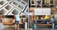Make Your Own Inexpensive Outdoor Furniture With This DIY Concrete Block Bench