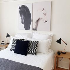 horse art Urban Road, Bright Rooms, Horse Art, Monochrome, Horses, Bedroom, Interior, Instagram Posts, Style