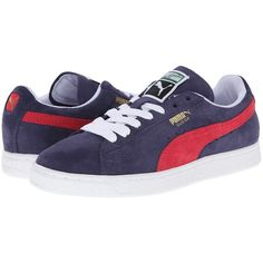 PUMA Suede Classic Women's Shoes, Blue ($38) ❤ liked on Polyvore featuring shoes, blue, blue suede shoes, cushioned shoes, suede leather shoes, puma footwear and 80s shoes