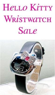 Hello Kitty Girls Black Wristwatch Sale ~ $5.98 Shipped! #hellokitty