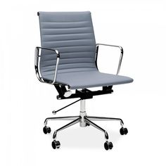 Charles Eames Grey Short Back Ribbed Office Chair