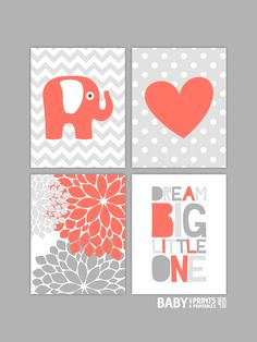 Coral nursery Baby Girl Nursery art prints Set of by babyartprints
