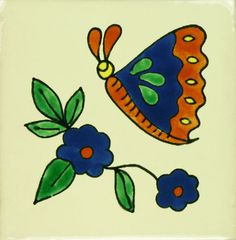 Especial (Ceramic) Mexican Tile - Mariposa y Flor Azul