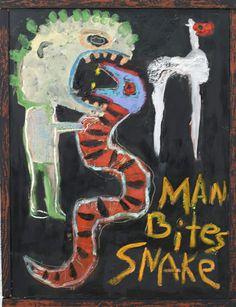 """Man Bites Snake"" painting by Flea Market Artist Kelly Moore of Santa fe New Mexico..."