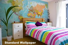 This massive version of our Physical World Political Wall Map is supplied on wallpaper to make it easy for you to fit it in any room in your house or office. Our physical world wall map wallpaper features the natural terrain of the land as well as the dif Room Color Schemes, Room Colors, Colours, World Map Wallpaper, Office Wallpaper, Wall Maps, Prepasted Wallpaper, Dorm Bedding, Comforter