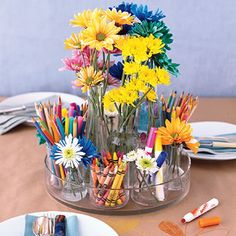 {diy Projects} Artist Inspired Wedding Centerpiece --> kids table centerpiece with paper table cloth for drawing