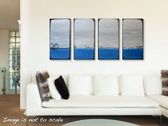Large 48 Abstract Ocean Painting  Texture Acrylic by gilliansarah, $359.00
