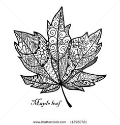 Find Doodle Textured Maple Leaf Raster stock images in HD and millions of other royalty-free stock photos, illustrations and vectors in the Shutterstock collection. Thousands of new, high-quality pictures added every day. Fall Coloring Pages, Adult Coloring Pages, Coloring Books, Herbst Tattoo, Maple Tree Tattoos, Doodle On Photo, Leaf Outline, Autumn Art, Zentangle Patterns