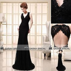 Sexy Black Lace Long Mermaid Prom Dresses Backless Formal Party Evening Gowns