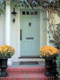 cottage and vine: benjamin moore stratton blue - front door color Exterior Paint Colors, Exterior House Colors, Exterior Design, Grey Exterior, Paint Colours, The Farm, Front Door Colors, Front Doors, Painted Doors
