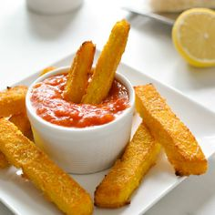 The healthiest fries ever! Made with baked polenta and nutritious grated Parmesan.