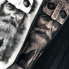 Vikings Forearm Sleeve Tattoos For Guys With Howling Wolf