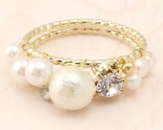 Luccica 宮廷風華麗cotton pearl珍珠閃鑽縷空 戒指 (包平郵掛號*)