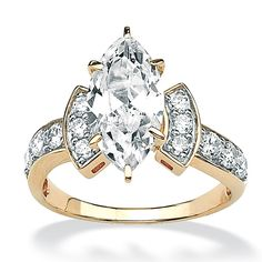 3.37 TCW Marquise-Cut Cubic Zirconia 10k Yellow Gold Engagement Anniversary Ring