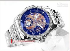 Gold Skeleton Stainless Steel blue Face Gold CoreAutomatic Men's Watches Luxury Wrist Watches 001 Online with $52.27/Piece on Maryma8888's Store | DHgate.com