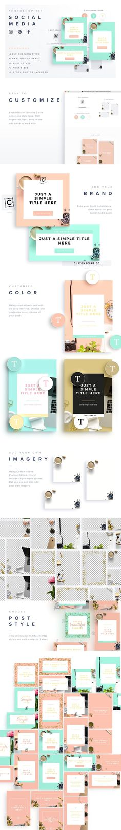 -70% Social Media Kit + Stock Photos - 9 Post Styles 3 Post Sizes. Images optimized for Instagram, Facebook Post, Twitter Post, Pinterest Pin and Blog Post. 9 Stock Photos Included. By Román Jusdado $5 #affiliatelink