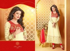 Elegant Cream ad Ankle Length Anarkali Suit   Georgette base with embroidered work and nagnin dupatta  Rs. 3,650/-