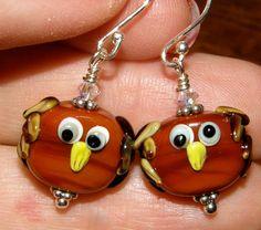 Barn Owl Earrings Pair of Glass Lampwork Bead by Simplylampwork, $24.99