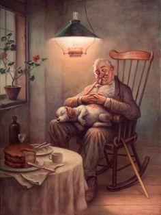Szasz, Laszlo Endre Asleep After Dessert Art And Illustration, Illustrations, Gif Animé, Country Art, Norman Rockwell, People Art, Art Pictures, Vintage Art, Art Drawings