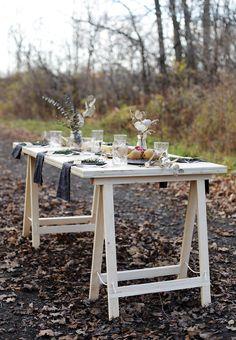 DIY Sawhorse Leg Plywood Table @themerrythought