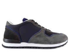 Sneakers Tod's - Todrun en nubuck marron et gris clair et néoprène et cuir marine