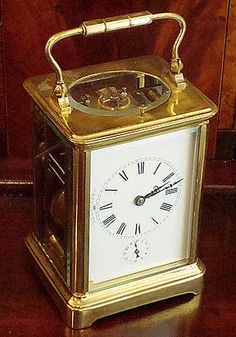 French Brass Carriage Clock & Case, B D Bawo & Dotter, N.Y. | O'Malley Antiques