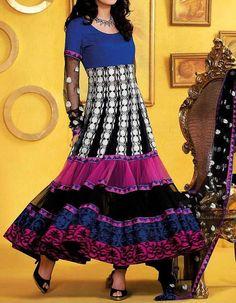 Traditional Net Anarkali Dress Long Party Wear Bridal Chudidar Set Indian Ethnic Wear Asia. $199.95, via Etsy.