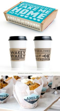 Take away packaging - OR the artsist could design a cup holder and the take away cups could just be plain white. Would probably be cheaper