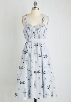 Dragonfly Away With Me Dress. You make a marvelous impression at the outdoor fte while swirling about the courtyard, clad in this pocketed, dragonfly-printed midi! #blue #modcloth