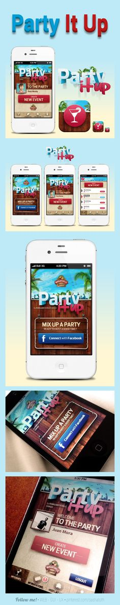 Party It Up by Juan Mora, via Behance *** #iphone #android #gui #app *** https://itunes.apple.com/app/party-it-up/id539649750 *** https://play.google.com/store/apps/details?id=com.pwa.mvcargo