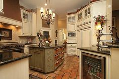 French Country Kitchen. Countertops #cabinets# island