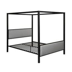 Bedford Black Queen Canopy Bed Queen Size Canopy Bed, Canopy Bed Frame, Queen Beds, Metal Canopy Bed, Target, Fabric Canopy, Traditional Fabric, Upholstered Platform Bed, Headboard And Footboard