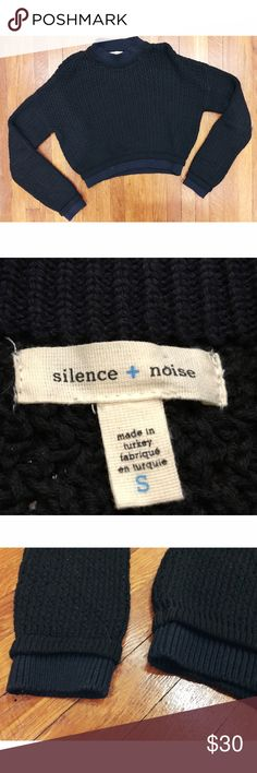 Silence + Noise (Urban Outfitters) • Crop Sweater Silence + Noise (Urban Outfitters) • Crop Sweater. Beautiful two tone sweater. Darker navy and lighter navy rim on sleeves and bottom. Fits like a crop sweater. Size small. In excellent condition!   . . . . . Suggested Used! 💁🏼 Non-Smoking Household! 🌿 A passionate Posher! 👗 Make an Offer! 🛍 silence + noise Sweaters Crew & Scoop Necks