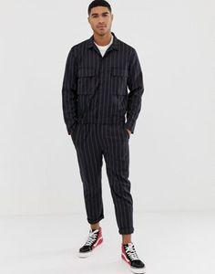 Bershka jumpsuit in black with stripes | ASOS