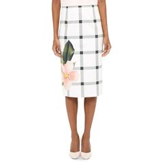 Ted Baker Mimie Secret Trellis Skirt ($219) ❤ liked on Polyvore featuring skirts, white, ted baker, ted baker skirt, white knee length skirt and white skirt
