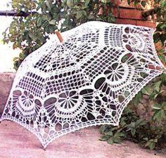 Crochet umbrella ♥LCU-MRS♥ with diagram, click on red letter wording #06 to view diagram ---::ArtManuais- Tecnicas de Artesanato | Moldes para Artesanato | Passo a Paso