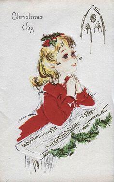 Old Christmas Post Сards — Vintage 'Girl Praying'  (629x1000)