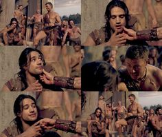 So sweet together they probably have no chance at survival. ... D: #Spartacus #Agron #Nasir
