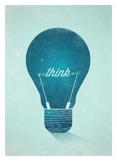 Think Sign, Graphic Print, Blue Print Art, Wall Decor, Vintage Light Bulb…