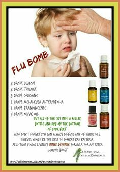 """Banish the flu with this wonderful, NATURAL formula! You don't need all those chemical filled """"remedies"""" Just diffuse with thieves all the time and if you doooo get the flu use these 5 essential oils to help boost your immune system. Essential Oils For Colds, Therapeutic Essential Oils, Essential Oil Uses, Natural Essential Oils, Young Living Essential Oils, Young Living Oils, Doterra Oils, Natural Healing, Natural Life"""