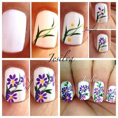 Purple Flowers On White Base Nail Art Tutorialalso Really Like Just The Stems Leaves