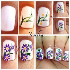Purple flowers on white base nail art tutorial
