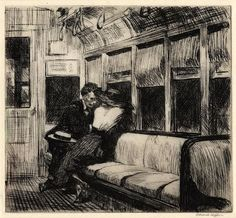 """Noche en el tren / Night on the El Train"", aguafuerte / etching, 18,3 x 20,1 cm., 1918 Edward Hooper El Hurgador [Arte en la Red]"
