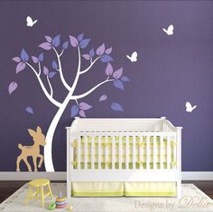 Deer Decal with Forest Tree and Butterflies for Girl Room