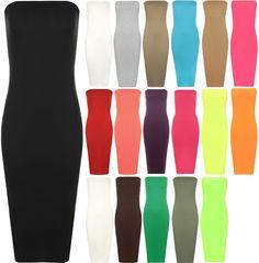 Womens Plain Boob Tube Strapless Stretch Bodycon Long Ladies Midi Dress