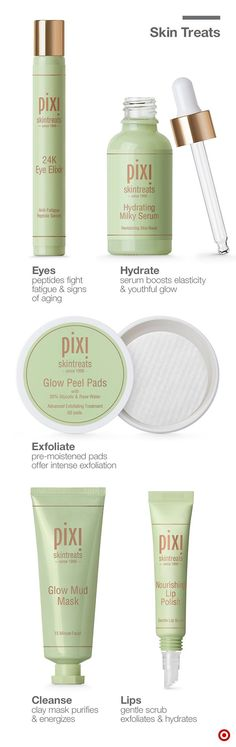 Skin in need of a little love? These natural Pixi Skintreats are the answer. 24K Eye Elixir boasts precious metals & botanicals to reduce fine lines & brighten tired-looking eyes (use chilled for puffy eyes.) Hydrating Milky Serum offers intense hydration to restore elasticity. Glow Peel Pads have 20% glycolic acid for improved texture. Glow Mud Mask absorbs oil, deep cleans and energizes without over-drying. And Lip Polish buffs lips to remove dead skin cells, then hydrates for a kissable…