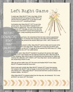 Printable Left Right Baby Shower Game   Boho Teepee Theme   Print It Baby