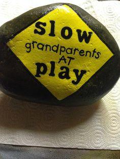 Grandparents at play hand painted stone Painted Pavers, Hand Painted Rocks, Painted Stones, Stone Crafts, Rock Crafts, Stone Painting, Diy Painting, Rock Sayings, Teresa